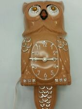 Rare Vintage 1960S Kit Cat OWL CLOCK , Bejeweled , RUNS.