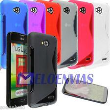 Funda + 2 PROTECTOR para LG L70 D320N / L65 D280N Gel TPU S-LINE Colores Varios
