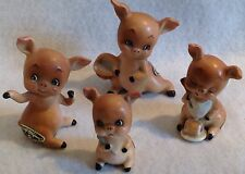 VINTAGE 4 PC JOSEF ORIGINALS MINIATURE PORCELAIN PIG FIGURINES