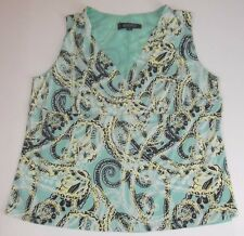 Kasper Blouse Top Size 14W Sleeveless Green Black Paisley Matte Jersey Stretch