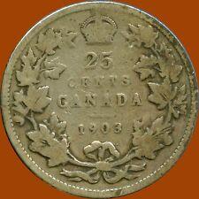 1903 Canada Silver 25 Cents (5.81 grams .925 Silver)