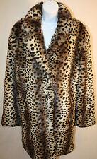 Somedays Lovin Womens Faux Fur Leopard All Night Winter Dress Coat Size M/L New