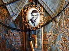 HANDCRAFTED IN THE UK ELVIS PRESLEY BOLO TIE ANTIQUE GOLD METAL, LEATHER CORD