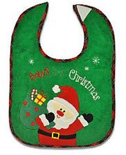 "Green Terry Cloth/Red Plaid ""Baby's First Christmas"" Bib w/Embroidered Santa"