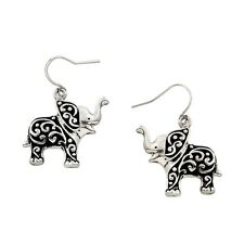 Elephant Fashionable Earrings - Vine Filigree - Fish Hook - Silver Plated