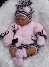 baby knitting pattern jacket pants boots hat mitts toy 0/3 m 20/22 in reborn dk