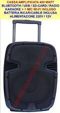 CASSA AMPLIFICATA 450 WATT BLUETOOTH/USB/SD-CARD/RADIO/KARAOKE + 1 MIC WI-FI-