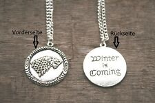 GAME of Thrones Wolf Rimorchio + COLLANA inverno is Coming House of fortemente STEMMA