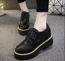 Women pu Leather Creepers Oxfords Platform Flats Lace-up Artificial Shoes