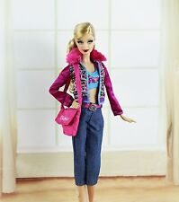5in1 Set Fashion Clothes/Outfit Coat+vest+pants+bag+shoes For Barbie Doll