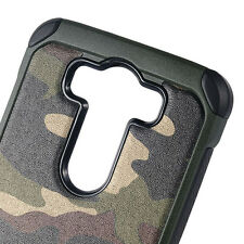 For LG V10 (H901) - HARD RUBBER HYBRID IMPACT ARMOR CASE GREEN CAMOUFLAGE ARMY