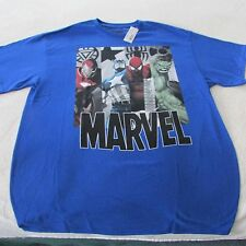 *~MARVEL*~4 SUPER HEROS~T Shirt~Young Mens LARGE~NEW W/TAG~BLUE~100% Cotton