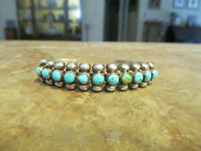 Heavy Old ZUNI Sterling Silver SNAKE EYE Turquoise ROW Cuff Bracelet