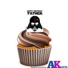 Star Wars Happy Birthday Father 12 Cup Cake Toppers Edible Decorations Dad Step