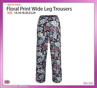New Ladies Women Black Floral Print Wide Leg Trousers Plus Size 16-24 Summer