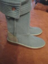 WOMENS UGG AUSTRALIA CARDY TALL MINT GREEN KNIT SHEARLING BOOTS, SZ 10 LQQK!