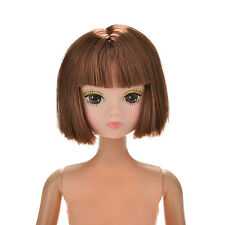 Doll Head Fashion Flaxen Short Hair Students Head Wigs For Barbies Doll