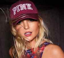 Victorias Secret PINK Baseball Hat Cap Ruby Maroon Stitched Logo NWT