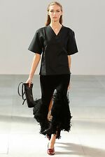 **CELINE** Black Silk Blend Split Fringed Fringe Skirt **RUNWAY 2015**