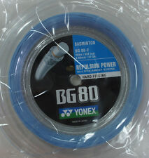 Yonex Badminton String, BG80-2, BG80 200m Coil, SKY BLUE, Made in Japan
