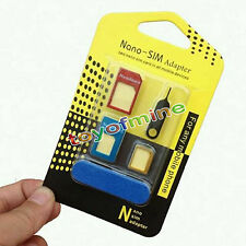 5 IN1 PACK NANO TO MICRO & STANDARD SIM CARD ADAPTER FOR IPHONE SAMSUNG HTC SONY