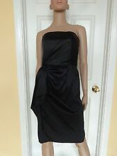 WHITE HOUSE BLACK MARKET black satin holiday party dress size 2 strapless LBD