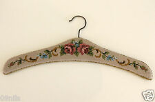 Vintage Handmade Cross Stitch / Embroidered Hanger Beige Flowers Roses decor