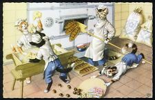 Dressed Cat BAKING BREAD by Hartung MAINZER Postcard No 4873 - Baker BELGIUM