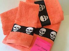 3 PIECE SET of BETSEY JOHNSON Skelator Skulls Tangerine BATH TOWELS NWT