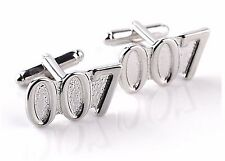 925 Silver Plated James Bond 007 Cufflinks cuff links Tie Clip 3D SLV Movie
