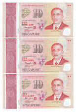 Singapore SG50 $10 banknotes - 3 runs  UNC  Nice Number 5AX138731-33 (SG-2)