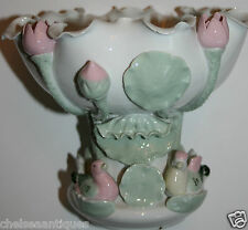 1970 Vintage Flower Frog West German Earthenware Vase Water Lilly Ducks Majolica