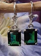 Mt St Helens Helenite 5ct Em-Cut Earrings leverback USA .925 sterling silver