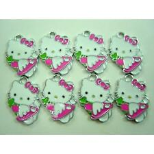 8 pcs Heart Jewelry Making Metal Figure Pendant Charms For Hello Kitty + GIFT