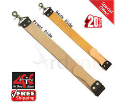 New 4Fit Cow Leather Strop Belt Straight Razor Sharpening Tool With Hooks