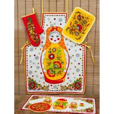 SALE Matryoshka Kitchen Set (apron,2 potholders,mitten,towel) 100% linen. Russia