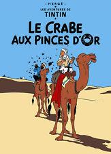 Plaque decorative metal bar poster Tintin Milou 20x30 - Le crabe aux pinces d'or