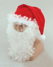 MENS ADULT FATHER CHRISTMAS XMAS SANTA HAT WITH WHITE WIG BEARD AND EYEBROWS SET