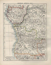 1909 VICTORIAN MAP ~ CENTRAL AFRICA WEST ~ FRENCH BELGIAN CONGO ~ ANGOLIA