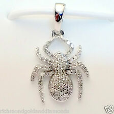 Pave Diamonds Spider Shape 10k White Gold Pendant Nacklace 18-16 chain
