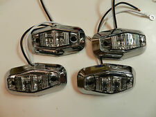 (4) Clear / Amber LED Trailer Light 2 Diode 1x2.5 Clearance marker CHROME Bezels