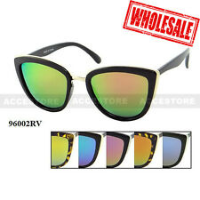 Wholesale Lots of 12 Sets Fashion Women Cat Eye Color Mirror Lens Sunglasses UV
