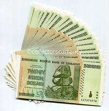 ZIMBABWE 20 BILLION 2008 AA CURRENCY UNC NOTE 1/4 BUNDLE X 25 BANKNOTES MONEY