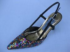 Jade Platinum Womens Shoes NEW $49 Black Multi Sequin Slingback Pump 6.5 W Wide