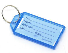BD 20 Blue Plastic Key Ring Tags with Name/ID Card 57x29mm