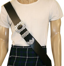 Piper Cross Belt Thistle Mount Buckle Real Leather Bagpipe Scottish Dress Kilt