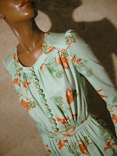 CHIC VINTAGE ROBE VERT D'EAU 1970 VTG DRESS 70s KLEID 70er ABITO ANNI 70 (36)