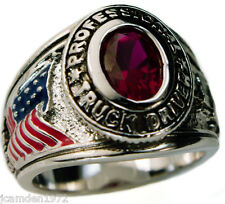 TRUCKER USA Men's Pinkie ring Ladies Ruby Simulated platinum overlay size 6