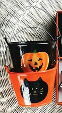 Halloween Ceramic Buckets ~ Candy Bowls ~ Pumpkins Cats Ghosts ~ Set/2