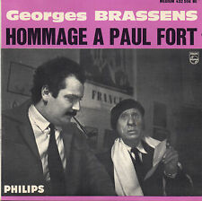 "GEORGES BRASSENS. HOMMAGE A PAUL FORT. RARE FRENCH EP 7"" 45 1961"